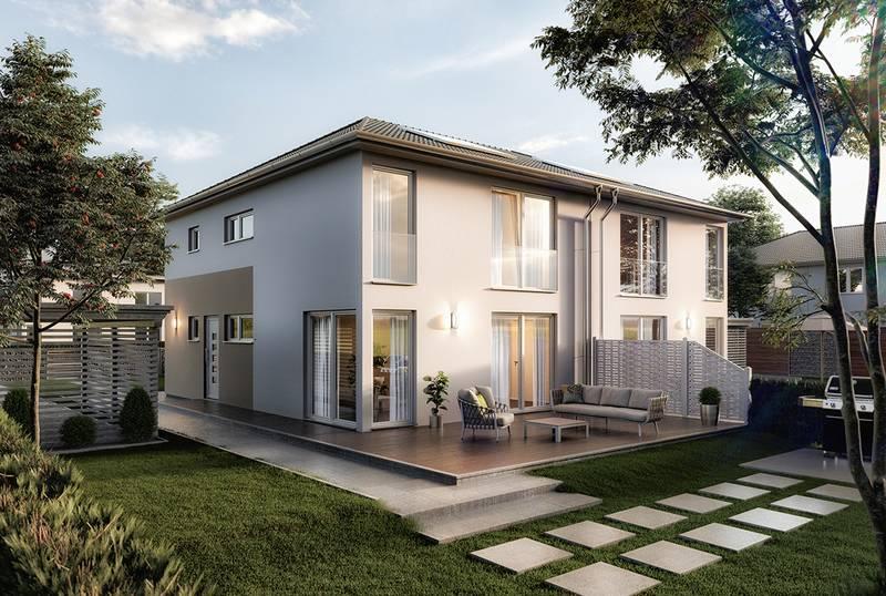 Modernes doppelhaus f r normalverdiener das neue aura 136 for Hausbau modern satteldach